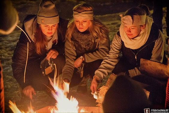 Making S'mores - Devil's Lake State Park Candlelight Snowshoe, Feb 2017