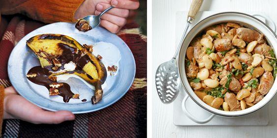 Kook samen dit fantastische wintermenu met worst en geroosterde pompoen en heerlijk gebakken banaan met een bol ijs. Niet chic, maar stoer en heel gezellig.