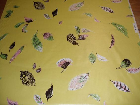 Cyrus Clark vintage chintz cotton fabric 36in wide yellow with feathers
