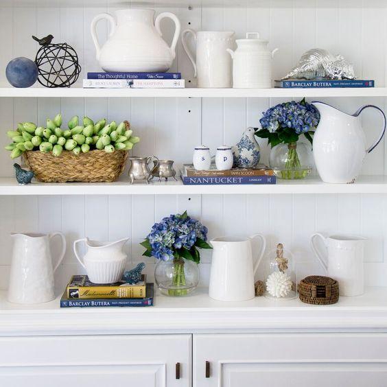 Bookshelf styling at Hamptons Style, Australia.: