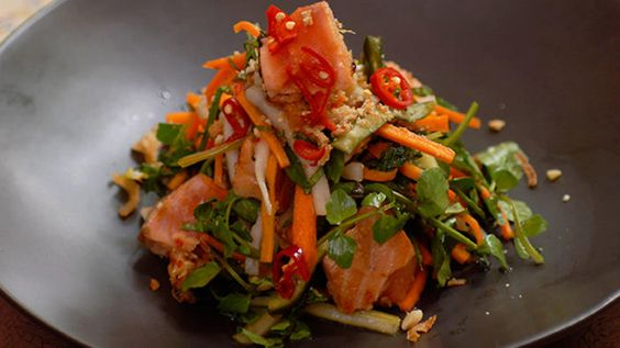 Chargrilled salmon salad recipe : SBS Food
