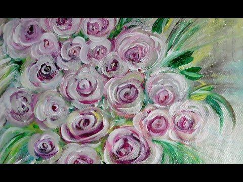Einfach Malen Acrylmalerei Rosen Easy Painting Acrylic Painting V115 Youtube Rose Malen Acrylmalerei Blumen Kunst