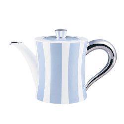 Bernardaud Galerie Royale.  Like Claridge's tea service, but blue instead of green.