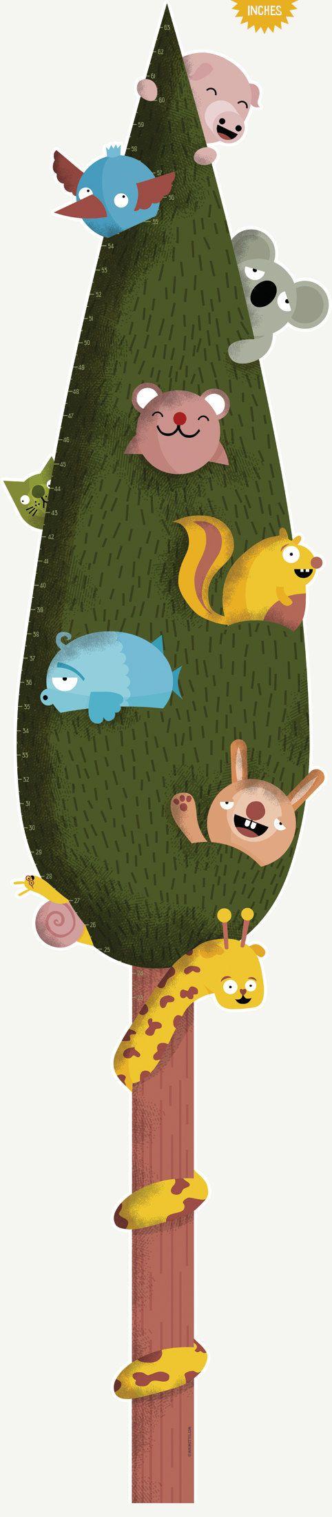 Crecimiento tabla pulgadas: Mejores amigos árbol - altura cuadro etiqueta de la pared / etiqueta engomada del vinilo