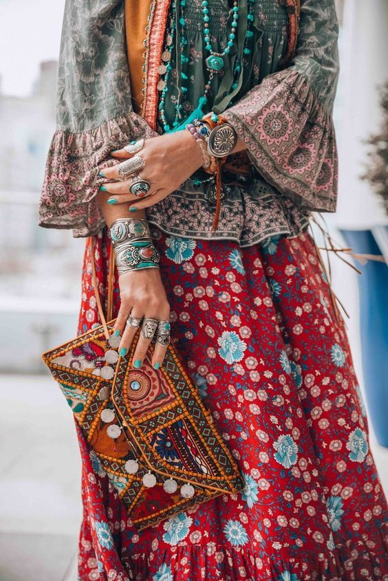 Robe Longue Hippie Mode Hippie Vetements Chics Mode
