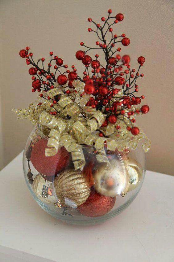 Navidad esferas centro de mesa adornos de navidad - Hacer centros de navidad ...