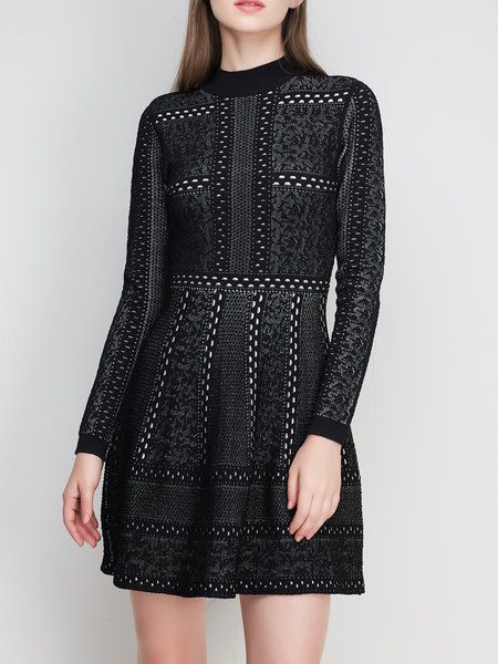 Black Elegant Printed Knitted A-line Sweater Dress: