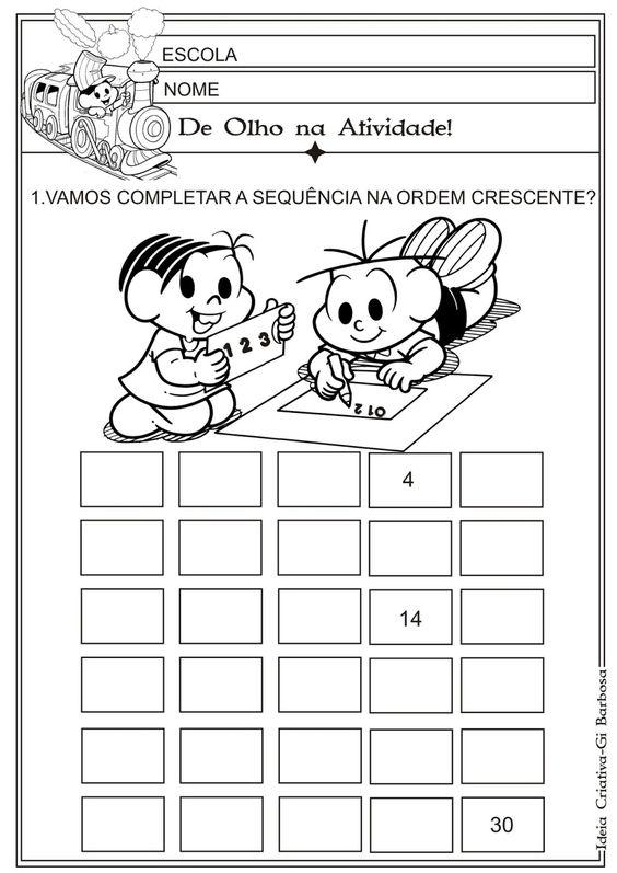 Matemática Infantil: Atividade Ordem Crescente 1 a 30