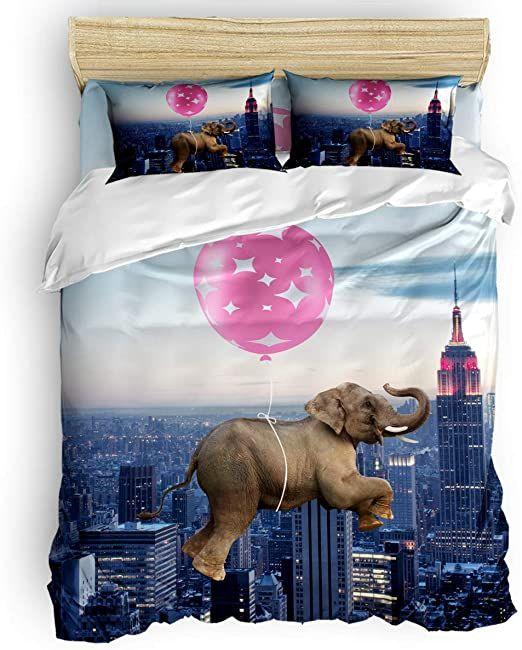 Vandarllin California King Size Duvet Cover Set City Pink Balloon Funny Elephant Bedding Sets Deco Elephant Bedding Set Elephant Bedding King Size Duvet Covers