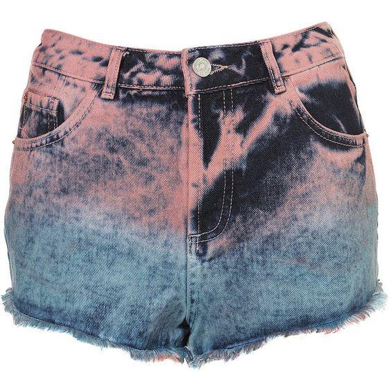 MOTO Dip Dye Stud Hot Pants ($68) ❤ liked on Polyvore