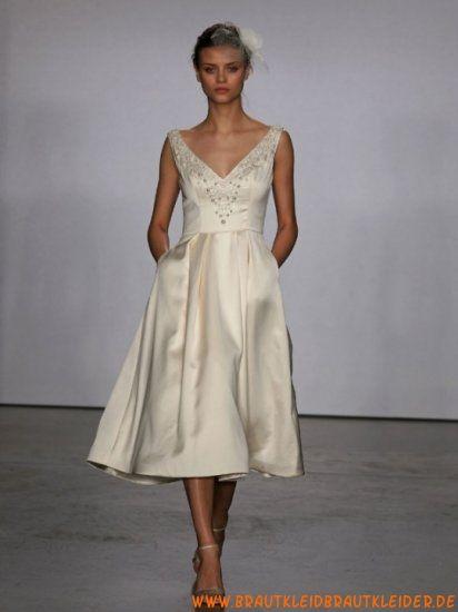 Schlichtes und elegantes Brautkleid aus Satin A-Linie mit Kristall kaufen online 2012