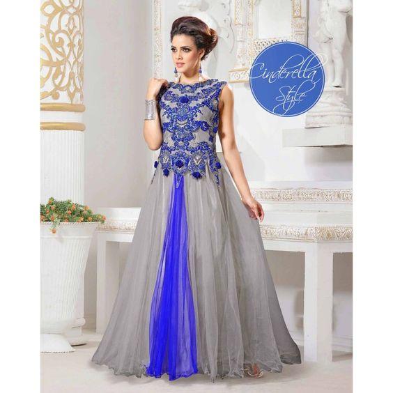 Stylish Wedding Wear designer gown in grey color