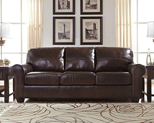 Ashley Furniture Signature Design Canterelli Contemporary Plush Leather Sofa Chestnut Brown Ashley Furniture Sofa Furniture