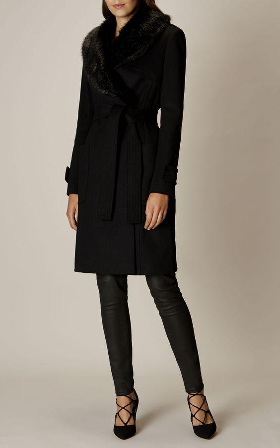Karen Millen, Manteau avec col en fausse fourrure Noir