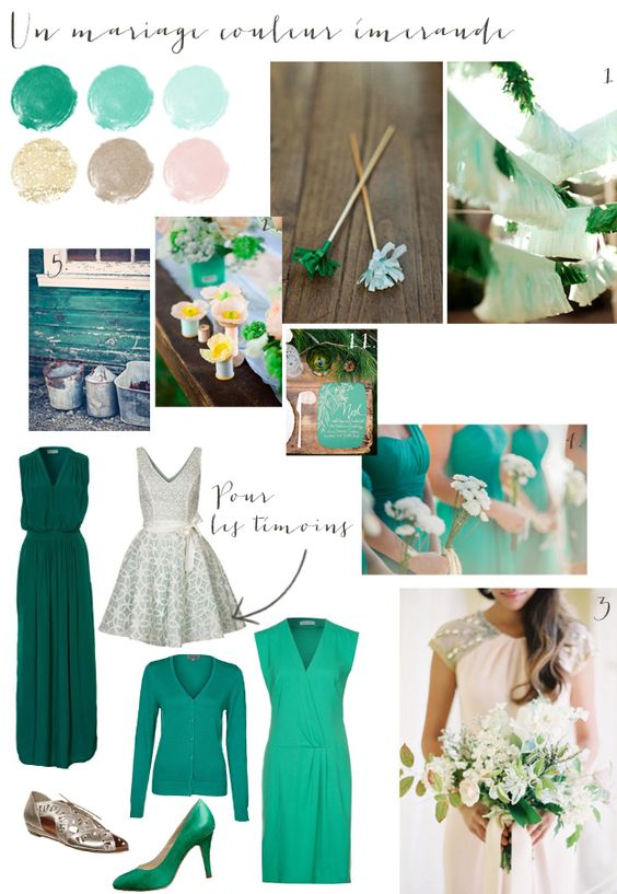 carnet d inspiration - mariage en vert emeraude - La mariee aux pieds ...