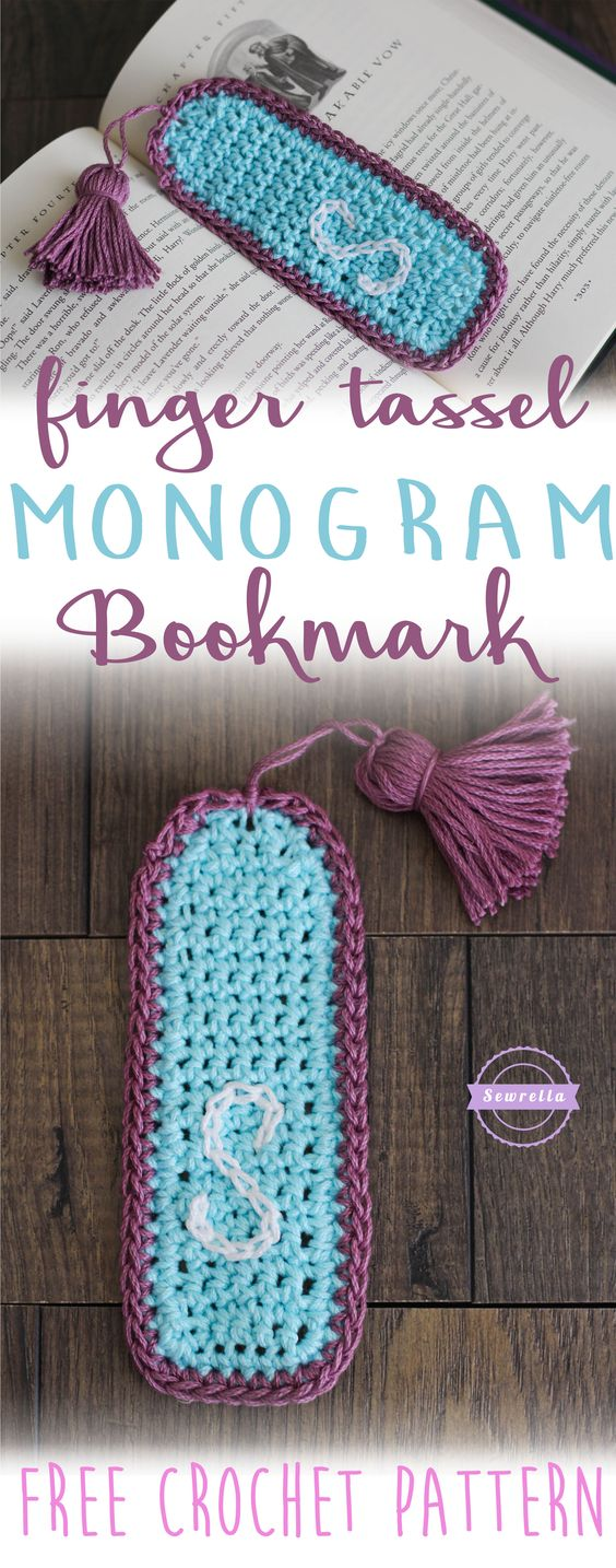 Finger Tassel Tutorial & Monogram Bookmark | Free Crochet Pattern from Sewrella: