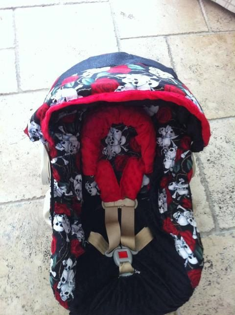 Skull Roses Black Infant Car Seat Cover With Canopy On Etsy 5000