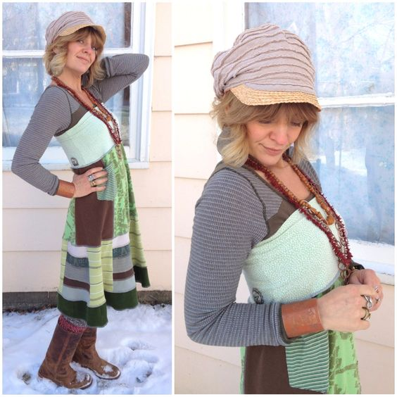 Eco long boho SKIRT/tube Dress, size S.M, clothing, upcycled,  patchwork, boho, green mix, festival, pocket and volcom applique, by Zasra