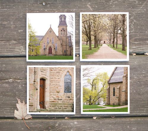 Kenyon College Photo Coasters - Kenyon Chapel, Middle Path - set of 4 for $28.00    Erin Beutel Photography