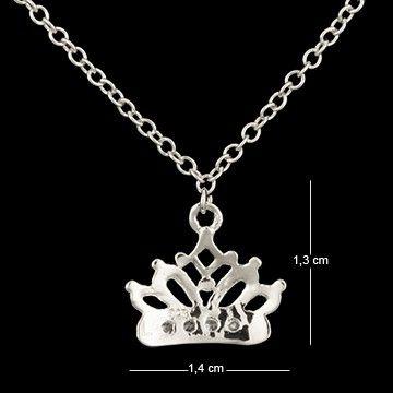 Corrente de prata com ródio coroa com zircônia