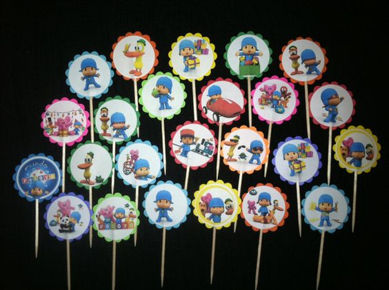 24 Pocoyo Inspired  Cupcake Toppers party favor by ryv999 on Etsy, $4.99