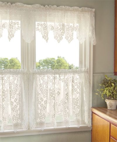 Dogwood ready made lace curtains are perfect for a kitchen or ...