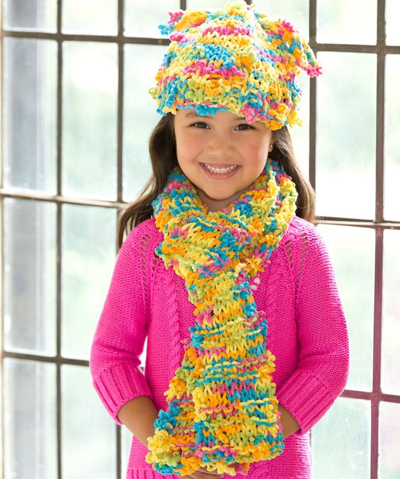 Hat Scarf Knitting Patterns Free : Funky Fun Hat & Scarf Free Knitting Pattern from Red Heart Yarns New, N...