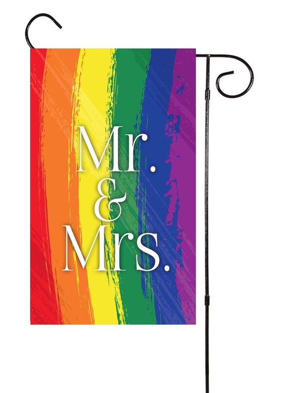 Rainbow Double Sided Garden Flag – Shut The Front Door by Unique Textile Printing