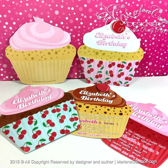 New! Printable and custom Cherries Cupcake Invitations, perfect for any event.