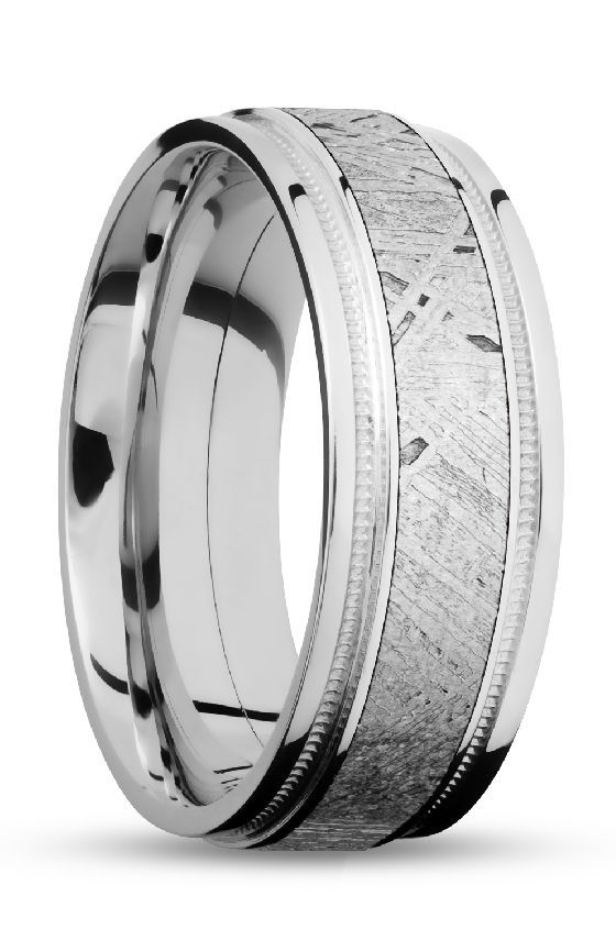 White Gold Men S Wedding Band With Meteorite Unique And Custom