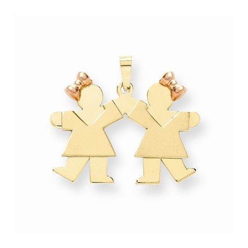 14k Two-tone Small Twin Girls With Bows Kiss Charm
