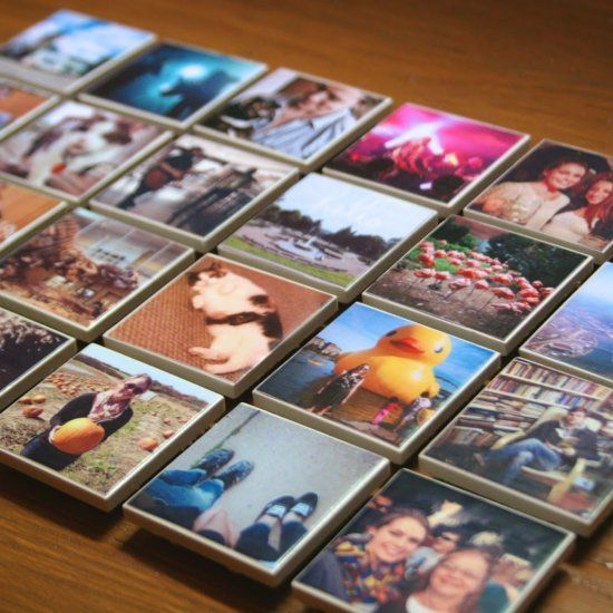 Use small, square tiles to make your own Instagram magnets! Print, Mod Podge, add a magnet & you're done! Awesome & easy afternoon project!  Or use as real tiles in a kitchen or bathroom!