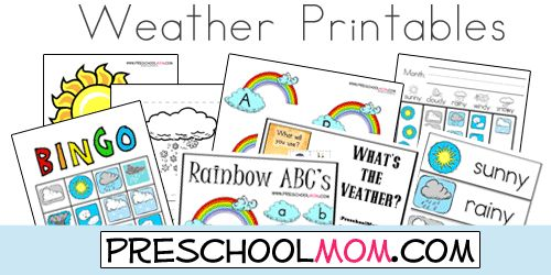 Free Weather Printables From Preschool Mom! File Folder