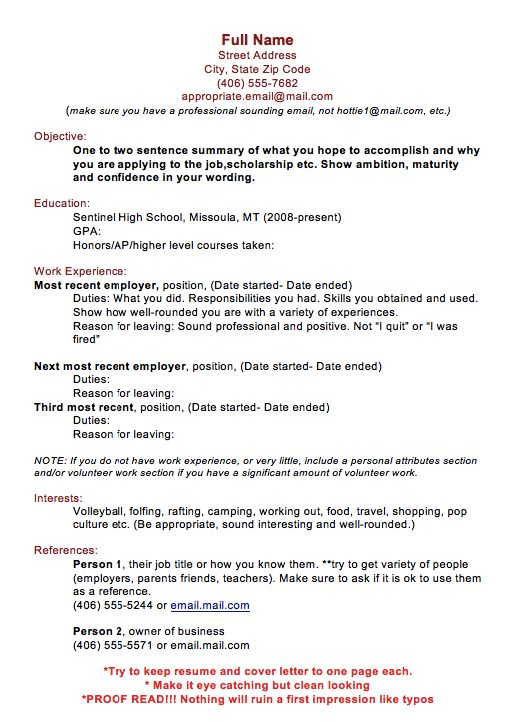 Resume Samples 2017 Full Name Street Address City, State Zip Code - examples of interests