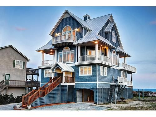 Oceanfront house - North Topsail Beach, Topsail Island   RentABeach...This is my dream home.  This is my answer to; what would you buy if you won the lottery?  I can't even afford to rent it and get the pleasure of staying in it a few days.  Maybe someday...till then 1042 New River Inlet...you have my heart