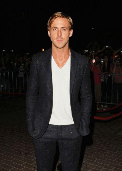 Ryan Gosling wearing Black Wool Suit, White V-neck T-shirt | Ryan