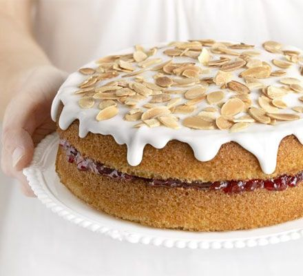 If you know someone who likes Bakewell tart, then they will just  love this cake – it's full of almond flavour and sandwiched with cherry jam.