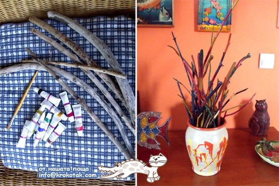 galhos coloridos: Easy Yarn, Tree Branches, Painted Sticks