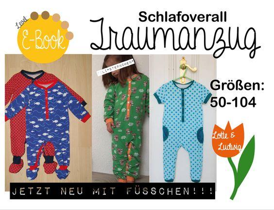 """E-Book+Schlafoverall+""""Traumanzug""""+Größe+50+bis+104+von+Lotte+und+Ludwig+auf+DaWanda.com"""