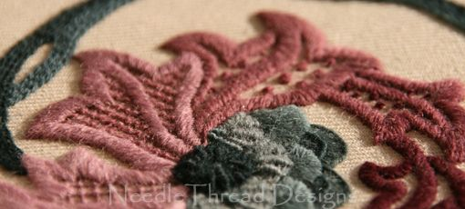 NeedleThread Designs: Crewelwork - close up of Jacobean wool embroidery