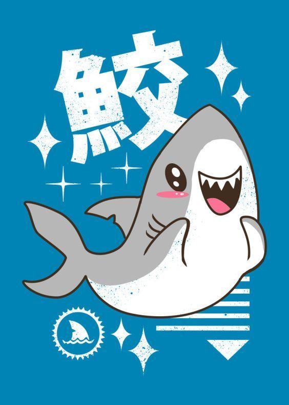 Kawaii Shark Animals Poster Print Metal Posters With Images