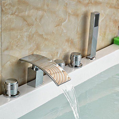 Senlesen Waterfall Widespread Bathtub Faucet Tap Rounds Handles