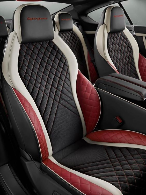 Bentley Car Interior Red White Black Interior Custom Diamond Stitch Console Door Panels Dash In Custom Car Interior Luxury Car Interior Car Interior Upholstery