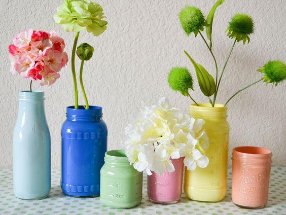 DIY Pastel Painted Mason Jars -
