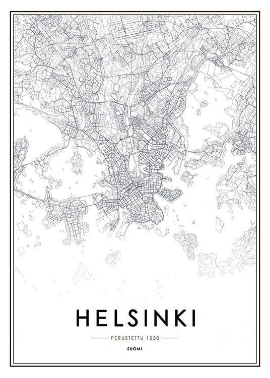 Juliste Jossa Helsinki Kartta Mustavalkoiset Taulut Kaupunki