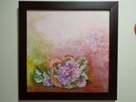 Fazendo Arte com Tereza: Pintura sobre decoupage Cesta de Flores