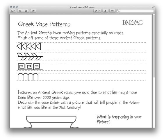 Greek Pottery and Patterns Worksheet | Ancient Greece for Kids ...