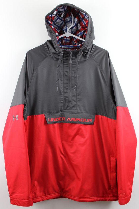NEW Under Armour Storm Reign Anorak Jacket Pullover Hoodie MENS LARGE gray red #UnderArmour #Hoodie