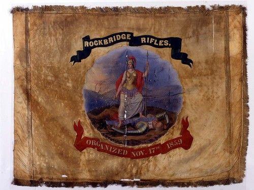 Una bandera llevada por los rifles de Rockbridge, una milicia de voluntarios formados en Lexington en noviembre de 1859, cuenta con el sello de la Commonwealth de Virginia, que representa a la diosa romana de la virtud de pie con el pie encima de una figura que representa la tiranía. Por encargo de las mujeres de Lexington, la bandera de seda con se fabricó su sello de aceite pintado en Filadelfia.