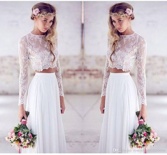 Long sleevels two pieces a line summer beach wedding for Simple form fitting wedding dresses